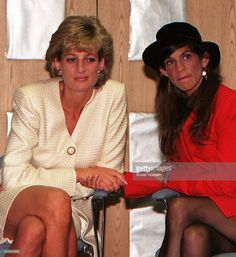 27 June 1996 Princess Diana holds hands with aids victim Aileen Getty, grand daughter of J. Paul Getty, during her visit to the Mortimer Market Centre