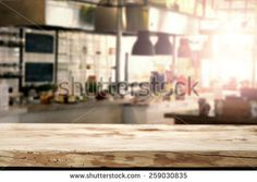 interior of kitchen in restaurant and desk of retro wood  - stock photo