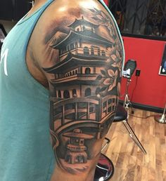 60 Pagoda Tattoo Designs For Men - Tiered Tower Ink Ideas Asian Tattoos, Dope Tattoos, Leg Tattoos, Body Art Tattoos, Tribal Tattoos, Tattoos For Guys, Tattos, Japanese Tattoos For Men, Japanese Tattoo Designs