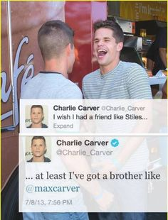 "Teen Wolf ... Charlie and Max Carver as Ethan and Aiden ... ""I wish I had a friend like Stiles ... at least I've got a brother like Max."" <3"