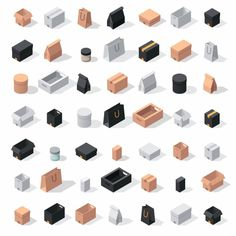 Different box vector icons isolated on white background. Shop bag box carton package paper, take out pack and food jar Isometric Art, Isometric Design, Monster Illustration, Children's Book Illustration, Illustrations, Paper Games, Architecture Drawings, Vector Icons, Game Design