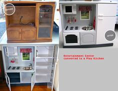 Old entertainment center turned play kitchen!