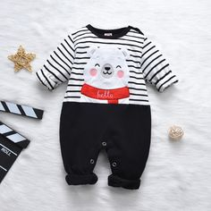 * Bottom snap * Soft and comfy * Material: Cotton, Polyester * Machine wash, tumble dry * Imported Toddler Boy Outfits, Baby Outfits Newborn, Kids Outfits, Baby Jumpsuit, Baby Dress, Baby Boy Monogram, Teddy Bear Clothes, Jumpsuits For Girls, Cute Baby Boy