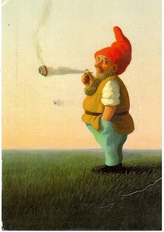 Postcrossing NL-1514410 - Funny card with a troll smoking a large joint, created by artist Michael Sowa.  Sent by Postcrosser in the Netherlands.