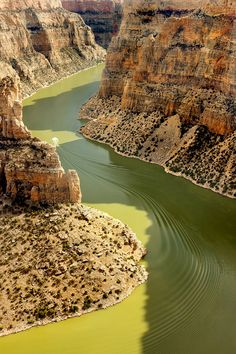 in Bighorn Canyon National Recreation Area, Crow Reservation, Mt, USA   *notice the boat making soft ripples