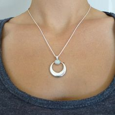 Opal Crescent Moon Pendant in Sterling Silver by NaturalAbstract