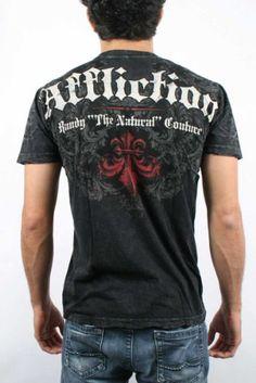 Amazon.com: AFFLICTION Couture Patriot Distressed Mens T-Shirt Black Size M: Clothing