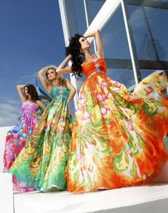 Love these gorgeous bright dresses from Tony Bowls