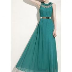 $13.43 Hollow Out Ruffles Cotton Blend Solid Color Maxi Dress For Women(Without Belt)