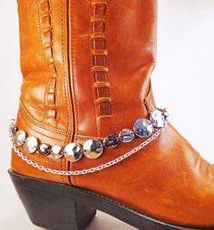 Silver & gunmetal boot bracelet Boot by BulletsBeadsBaubles