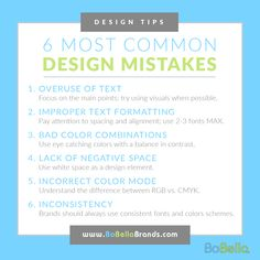 With so many marketers using online platforms, it is important to captivate viewers with good design.  Therefore, being able to turn your ideas into an attention grabbing visual message is important in today's digital world.      To help small businesses understand some of the key mistakes when visual designs, we put together a list of some of the most common design mistakes committed by amateur visual artists and non-designers.