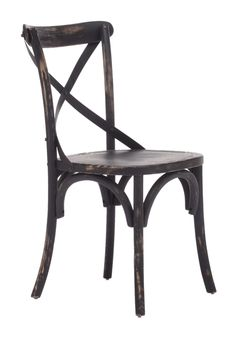 Modeled after the most popular café chair in Europe, our versatile X-back dining chair comes in natural, antique black, and antique white.  Frame is solid wood with antique metal accents.