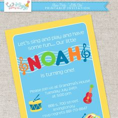 Printable Music Party Invitation