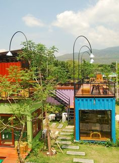 Snooze Box Hotel, ChiangMai - Build Container Home Shipping Container Buildings, Shipping Container Design, Shipping Container House Plans, Container House Design, Tiny House Design, Shipping Containers, Container Coffee Shop, Container Cafe, Cargo Container