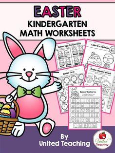 Easter Kindergarten Math Worksheets (Common Core Aligned) >> Full of fun no prep activities!