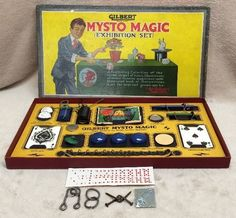 Vtg Gilbert Mysto Magic Exhibition Set No. 1 Good Box Nearly Complete Made USA