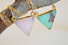 Small Triangle Gold Electroplated Pendant-Chalcedony-Cleanses Aura-Rose Quartz-Love-Australian Jade-Heart Chakra-Necklace-Gold Filled 14k by RisingPhoenixGems on Etsy https://www.etsy.com/listing/501975468/small-triangle-gold-electroplated