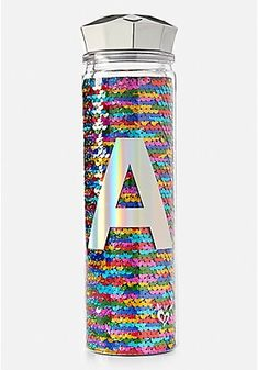 Justice rainbow sequined water bottle