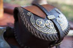Купить Кожаная сумка «Драккар» - коричневый, сумка, викинги, викингская сумка, акессуары для викингов