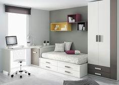Kids Touch 28 Dormitorio juvenil Juvenil Camas Compactas y Nidos: Cama compacta con cajones, con escritorio, estanterías y armario.