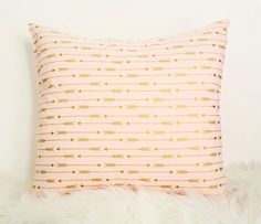 Throw Pillow, Decorative Pillow Cover, Nursery Pillow, Gold Arrows, Gold and Pink Pillow, Pillow Cover for Throw Pillow, cotton pillow cover