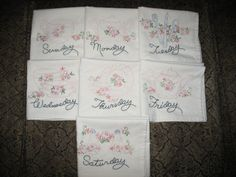 Set of 7 Hand EmbroideredTeaTowels Peachy Daily Dishes by Hisnow, $50.00