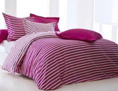 Parure Housse de Couette RAYE JUS DE MYRTILLE Disponible sur le site www.textile-de-maison.net