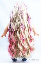 """Berry Swirl Aloha Doll Wig, Blondw with Purple Pink Ombre Highlights, fits 18"""" American Girl Dolls size 10-11, Extra Long like Kanani Hair: Beautifully Custom Dolls Exclusive"""