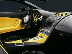 Yellow/Black Interior (Gallardo) Love the steering wheel...