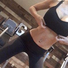fit woman flashing fake boobs