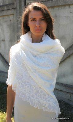 Felt silk and wool felted shawl 'White Swan'