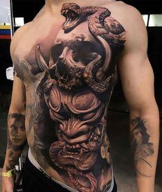Tattoos on back – Tattoos And Torso Tattoos, Skull Sleeve Tattoos, Stomach Tattoos, Best Sleeve Tattoos, Tattoo Sleeve Designs, Body Art Tattoos, Chest Tattoo Skull, Samurai Tattoo Sleeve, Leg Tattoo Men