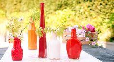 Peinture sur verre : petites bouteilles peintes dans des tons chauds - tutoriel
