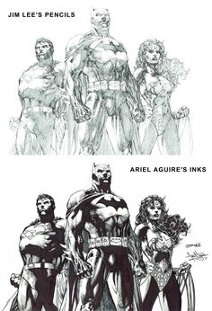 2011 Here's a side by side comparison of the photocopy of Jim Lee's pencils next to my inks over it :-) #arielsartwork #superman #batman #wonderwoman #trinity #dctrinity #dc #dccomics #jimlee #pencils #inks #pinup #sidebyside #comparison