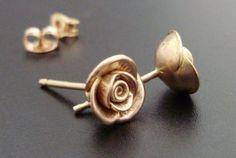 Roses in Rose Gold  Handsculpted Cast Earstuds in Solid 14K