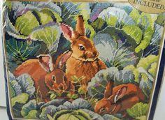 """24.95 Bucilla Needlepoint Kit Bunny's Cabbage Garden 4775 Rabbit Easter 14' x 12""""  #Bucilla"""