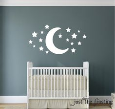 New Wall Decal - Star and Moon Wall Decal - Star Decal - Nursery Wall Decal - Childrens Wall Decal - Moon Star Wall Art - Baby Wall Decal by JustTheFrosting on Etsy https://www.etsy.com/listing/186163018/new-wall-decal-star-and-moon-wall-decal