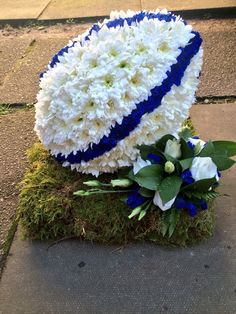 Rugby ball funeral tribute www.hubbardsfloristcoventry.co.uk