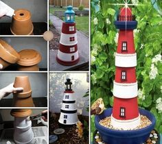 Schöne Idee für den Garten oder Balkon. Ein Leuchtturm aus Tontöpfen. Bauanleitung: Ihr nehmt drei verschieden große Tontöpfe und klebt diese aufeinander. Dann malt ihr sie in Leuchturmoptik an. Zum schluss noch eine Lampe oben befestigen und fertig ist...