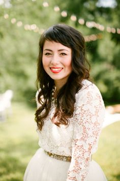 Backyard Picnic Wedding from Lily Glass Photography super short bangs, if i ever opt for bangs again Short Side Bangs, Long Hair With Bangs, Long Curly Hair, Angled Bangs, Sweeping Bangs, Wispy Bangs, Hair Bangs, Wavy Hair, Long Asymmetrical Haircut