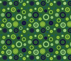 Cuteness Gears Green fabric by jenimp on Spoonflower - custom fabric