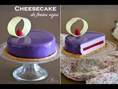 Cheesecake de frutos rojos y glaseado violeta brillante - YouTube