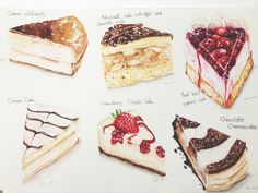 Doodlewash by YuLing Yiu Dessert Illustrations of cheese cake strawberry chocolate