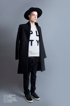 PPAPER Shop 2014 A/W Lookbook SECONDARY RAINBOW - MEN∣Flat Hat by WESTERLIND /  Coat by SOLEMN /  Sweatshirt by PLAYTYPE /  Wool Trousers by NOHANT /  Skirt by GUERRILLA GROUP /  Sneakers by VATIC