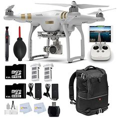 DJI Phantom 3 Professional Quadcopter Drone with 4K UHD Video Camera + 2 64GB Memory Cards + Manfrotto Advanced Tri Backpack + 2 Batteries + Reader + Lens Cleaning Pen & more drone reviews