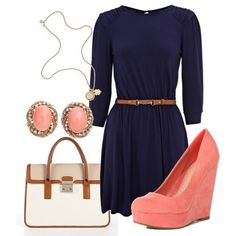 Navy and peach Work wear idea navy dress with brown waist belt, peach wedge heels, peach and gold jewellery