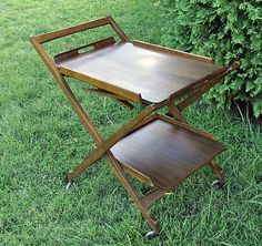 Mid Century Modern Danish Walnut Rolling Bar Tea Trolley Cart | eBay