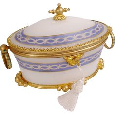 """Antique French White Opaline Casket Hinged Box """"  Champlevé  Double Handles"""""""