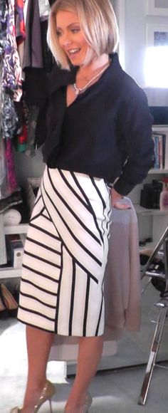 Kelly Ripa in a FRAME top and O'2nd skirt from Intermix. LIVE with Kelly and Michael Fashion Finder.