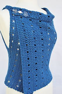 Coastal Breezes Hooked is an asymmetrical vest designed to be worn a multitude of ways: with the shorter side up for a longer vest and narrow collar; or with the longer side up, for a shorter vest and dramatic collar. Plus, with neither right nor wrong sides, you can't go wrong! Add your favorite shawl pin and, voila, a truly versatile new vest!